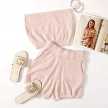 Fluffy Knit Bandeau Top & Shorts Set
