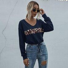 Sweatshirt mit Leopard Muster Einsatz und Kordelzug am Saum