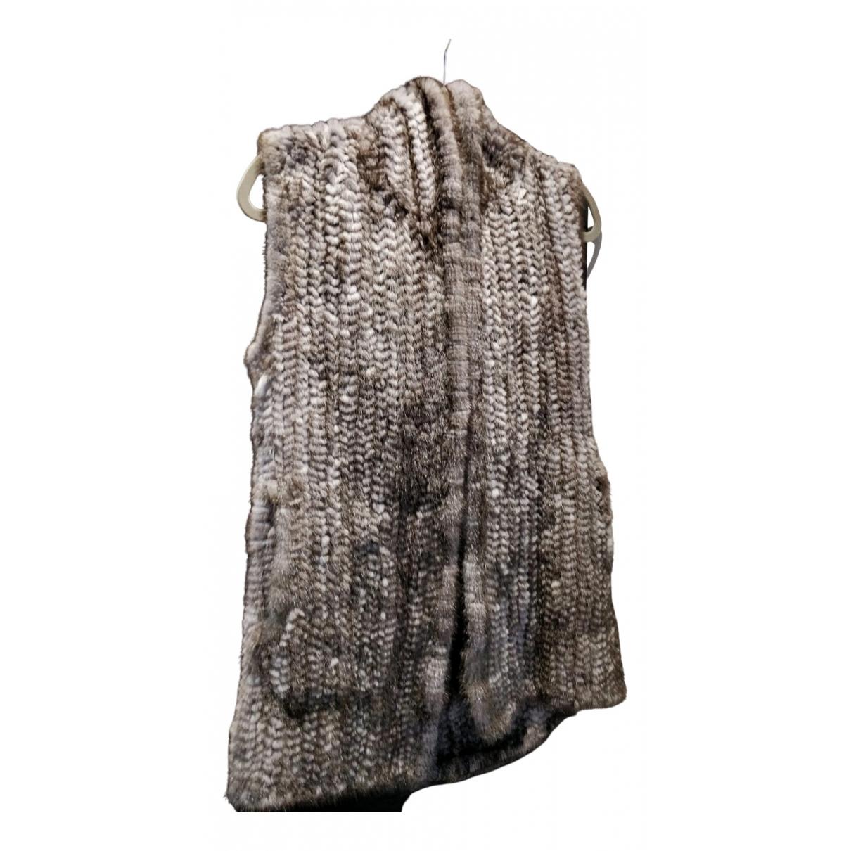 Harrods - Manteau   pour femme en vison - gris