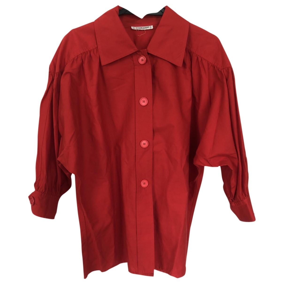 Yves Saint Laurent - Top   pour femme en coton - rouge