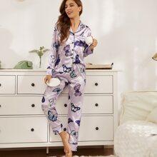 Conjunto de pijama de saten con estampado de mariposa