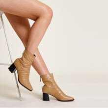 Minimalist Ruched Chunky Heeled Boots