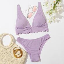 Gerippter Bikini Badeanzug mit Bogenkante