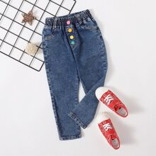Jeans mit Knopfen Detail und elastischer Taille