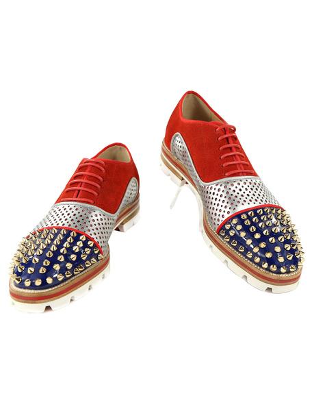 Milanoo Zapatos de vestir de hombre 2020 de tacon gordo de puntera redonda de cuero autentico rojos de color-blocking con remache estilo moderno para