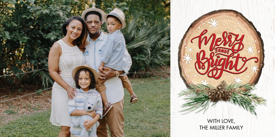 Christmas Photo Cards Flat Matte Photo Paper Cards with Envelopes, 4x8, Card & Stationery -Christmas Wood Plaque Collage by Tumbalina