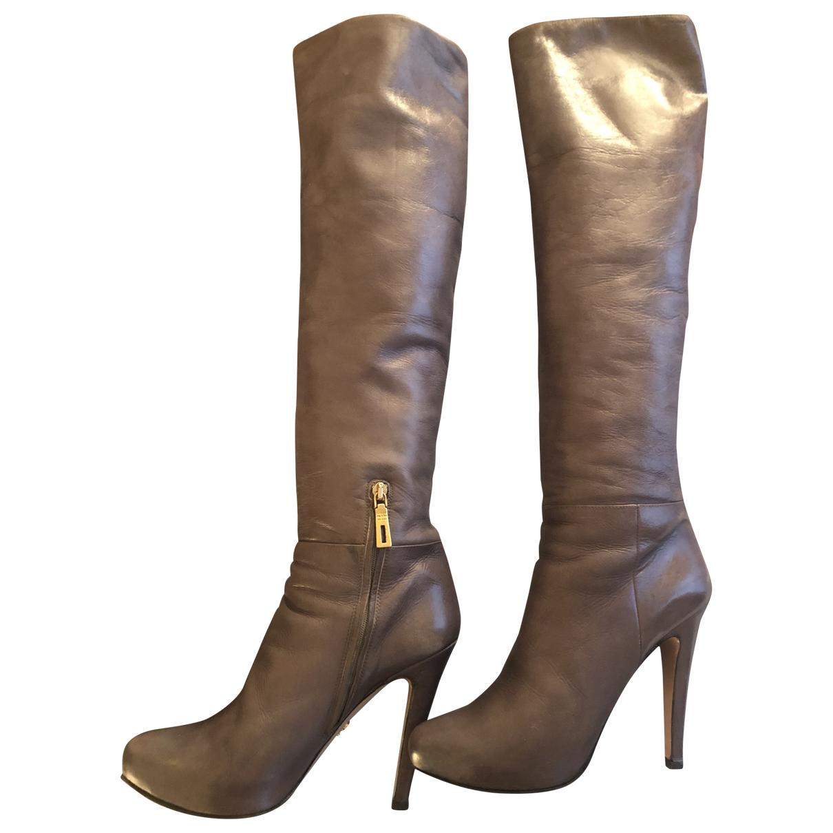 Prada - Bottes   pour femme en cuir - gris