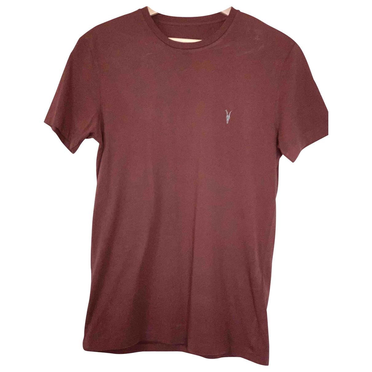 All Saints - Tee shirts   pour homme en coton - bordeaux