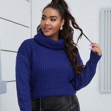 Strick Pullover mit hohem Kragen