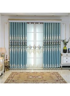 Blue Single Sided Cashmere Embroidered Floral Room Darkening Cotton Curtain Panels