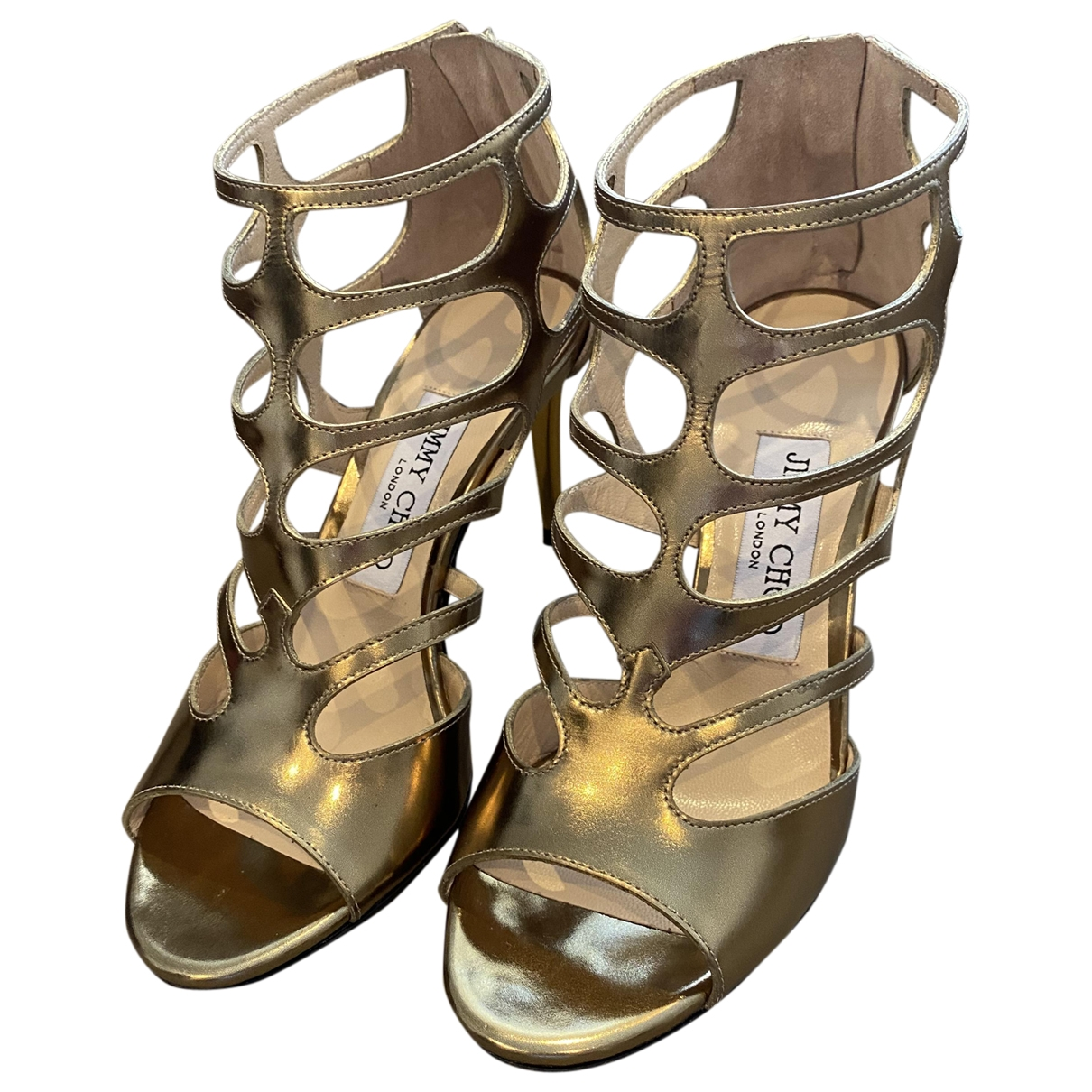 Jimmy Choo - Sandales   pour femme en cuir - metallise