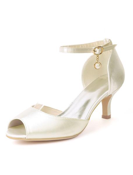 Milanoo Zapatos de novia de saten Zapatos de Fiesta Color champaña Zapatos de punter Peep Toe Zapatos de boda 6cm con perlas