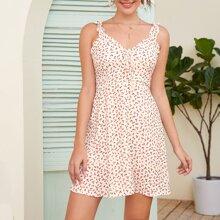 Cami Kleid mit Bluemchen Muster, Raffung und Riemen