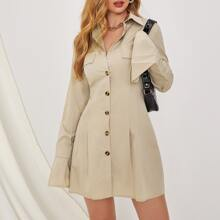Single Breasted Flap Detail Fold Pleated Shirt Dress