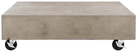 VNN1023A Gargon Indoor/Outdoor Modern Concrete 9.84-Inch H Coffee Table With Casters in Dark