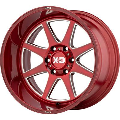 XD Wheels XD844 Pike, 20x12 with 5x127 Bolt Pattern - Brushed Red with Milled Accents - XD84421250944N