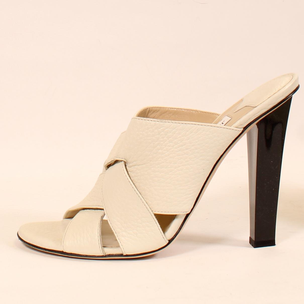 Jimmy Choo N White Leather Heels for Women 41 EU