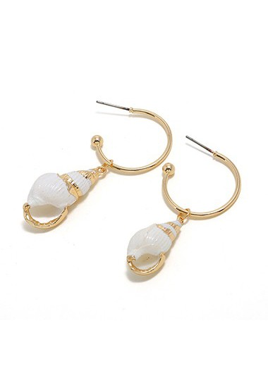 Mother's Day Gifts Gold Metal Seashell Shaped Earrings for Lady - One Size