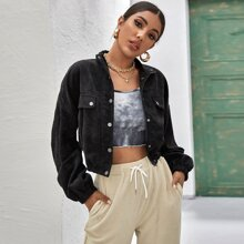 Collared Press Buttoned Cord Jacket