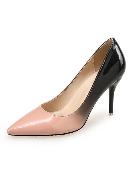 Milanoo Zapatos de tacon alto con punta estrecha para mujer Bombas basicas Bloque de color