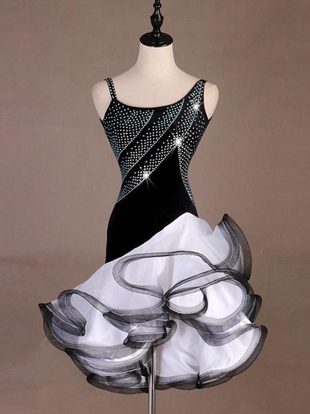 Milanoo Dance Costumes Latin Dancer Dresses White Women Organza Ruffle Skirt Dancing Wears Outfit Halloween