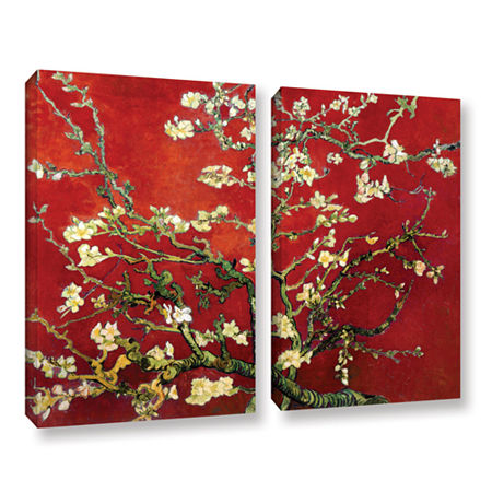 Brushstone Red Blossoming Almond Tree 2-pc. Gallery Wrapped Canvas Wall Art, One Size , Red