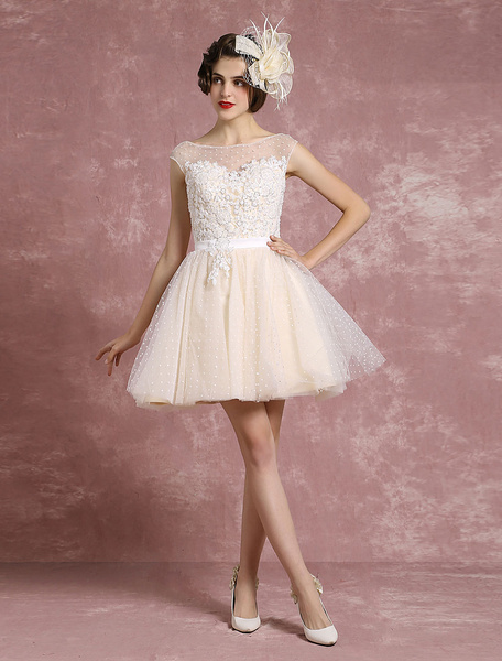 Milanoo Boda vestido ilusion novia vestido de novia corto tul lunares abalorios un linea sin mangas Mini vestido nupcial