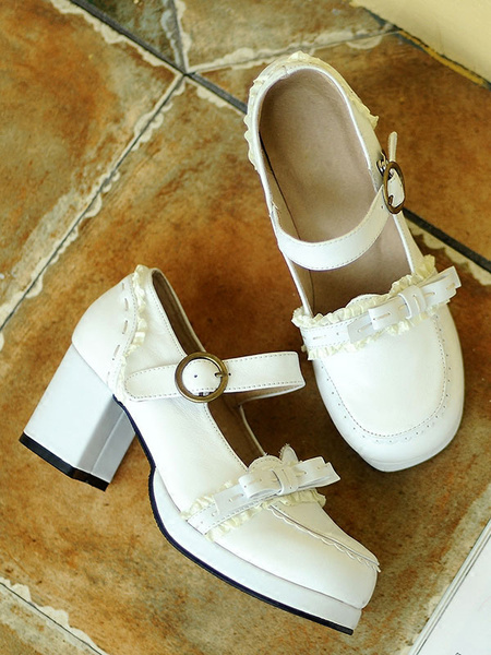 Milanoo Classic Lolita Footwear Bow Buckle Square Toe Platform Chunky Heel Lolita Shoes