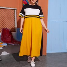 Plus Letter Graphic Colorblock Tee Dress