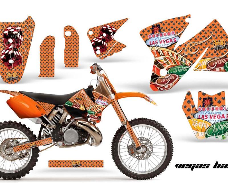 AMR Racing Dirt Bike Decal Graphic Kit Sticker Wrap For KTM SX/XC/EXC/MXC 1998-2001áVEGAS ORANGE