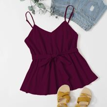 Plus Solid Belted Ruffle Hem Cami Top