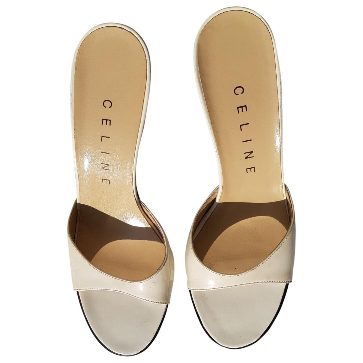 Celine Nude Ecru Leather Sandals for Women 37 EU