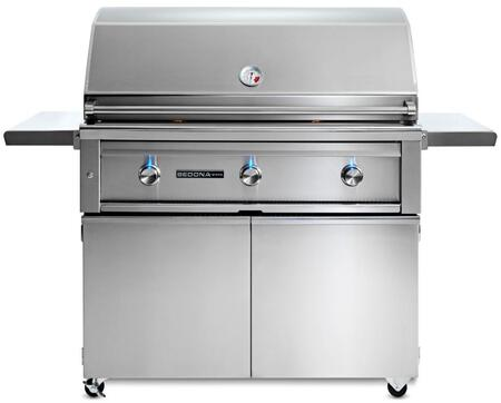 L700FNG Sedona Series 42 Grill with Grill Cart  3 Stainless Steel Tube Burners  Blue LED Knob Light and Temperature Gauge  in Stainless Steel: