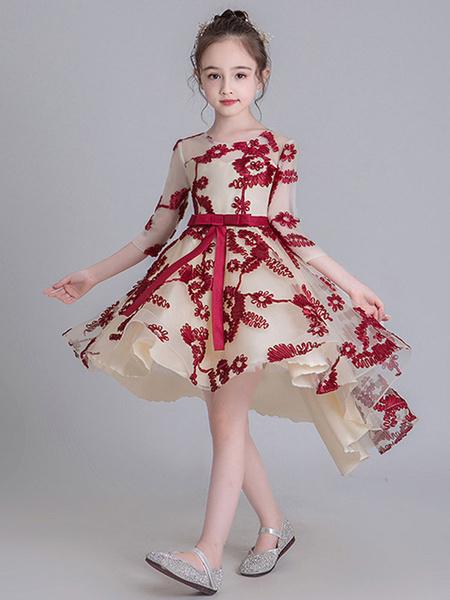 Milanoo Flower Girl Dresses Jewel Neck Half Sleeves Embroidered Kids Social Party Dresses