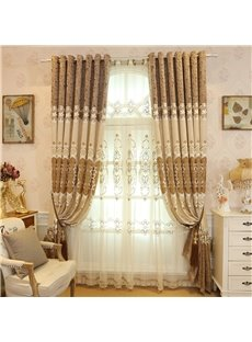Elegant Chenille Embroidered Flowers Beige Custom 2 Panels Living Room Sheer Curtain