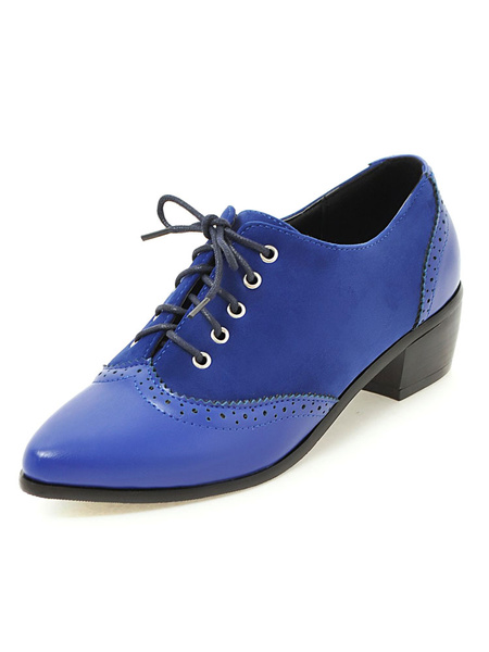 Milanoo Women Oxford Shoes Suede Oxfords Blue Pointed Toe Lace Up Casual Shoes