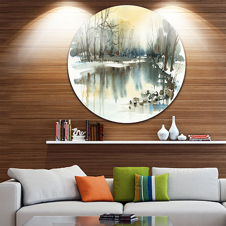 Design Art River in Winter Landscape Circle MetalWall Art, One Size , Blue