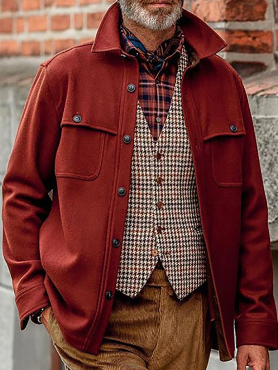 LW lovely Street Turndown Collar Buttons Design Red Men Jacket