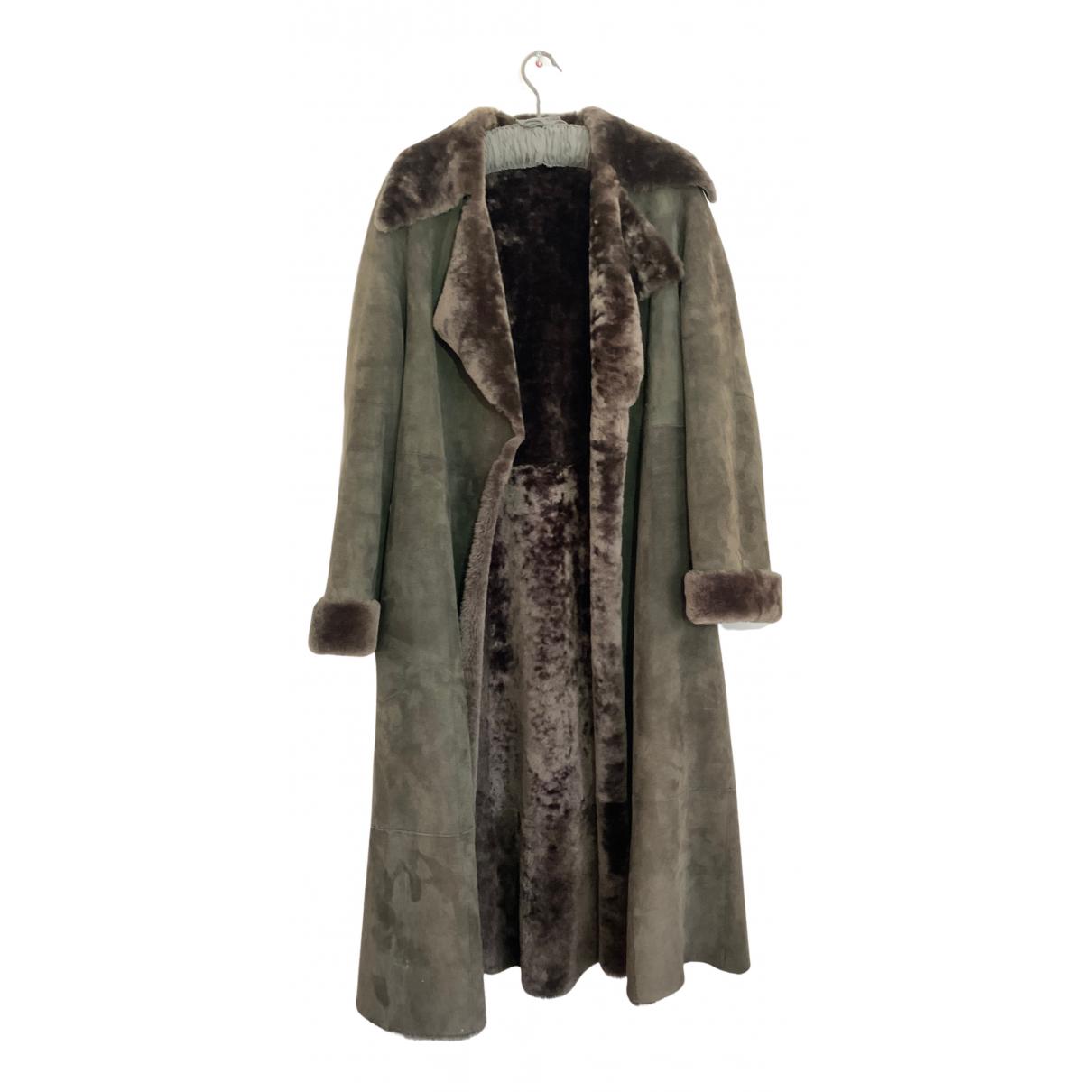 Donna Karan - Manteau   pour femme en fourrure - marron