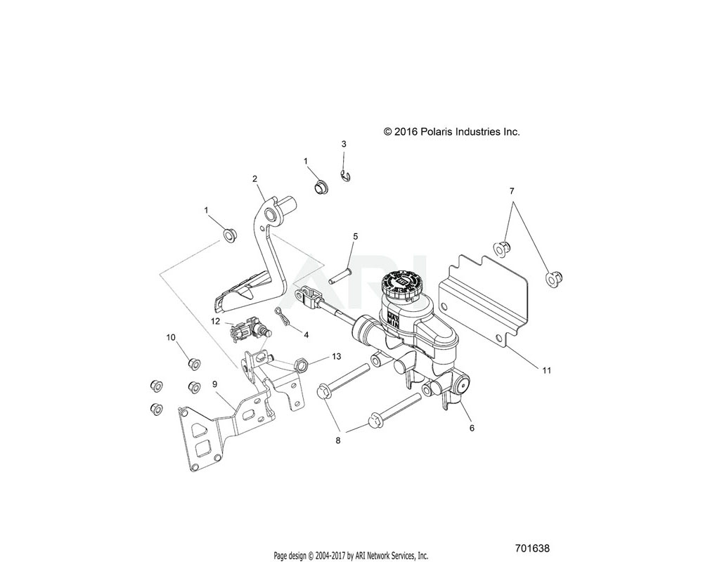 Polaris OEM 1023085-329 WELD-PEDAL MOUNT, TR, BLK