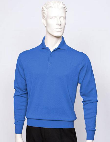 Tulliano mens Denim long sleeve silk/cotton fine gauge knitwear