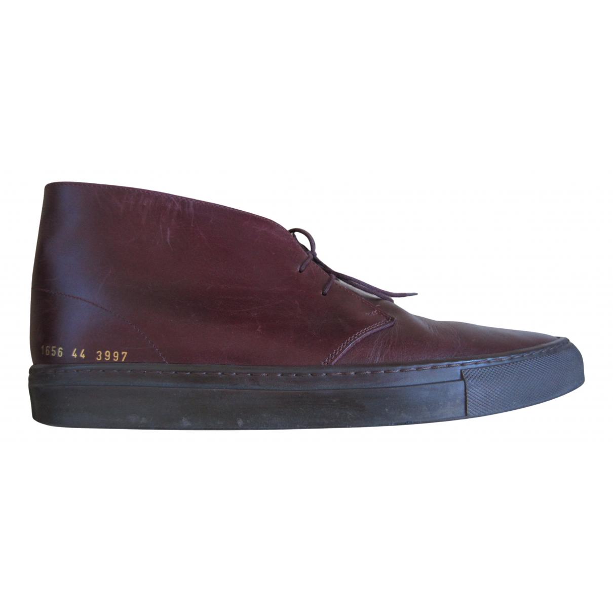 Common Projects - Bottes.Boots   pour homme en cuir - bordeaux