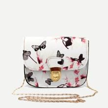 Kettentasche mit Blumen Muster