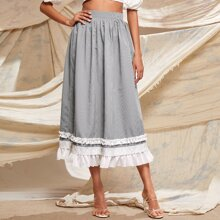 Plaid Ruffle Hem Longline Skirt
