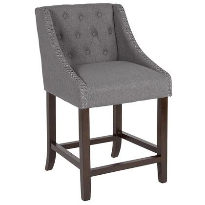 Carmel Collection CH-182020-T-24-DKGY-F-GG Counter Height Stool with Nailhead Trimmed Curved Arms  Button Tufted Back  Floor Protector Glides  Walnut