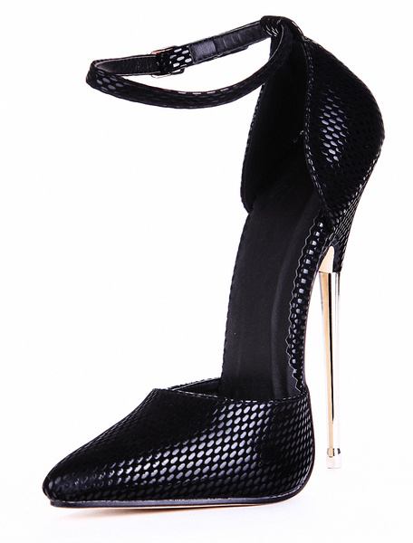 Milanoo Black PU Leather Ankle Strap Pointed Toe Sexy Pumps