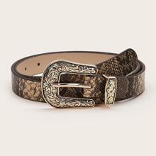 Cinturon occidental con patron de piel de serpiente
