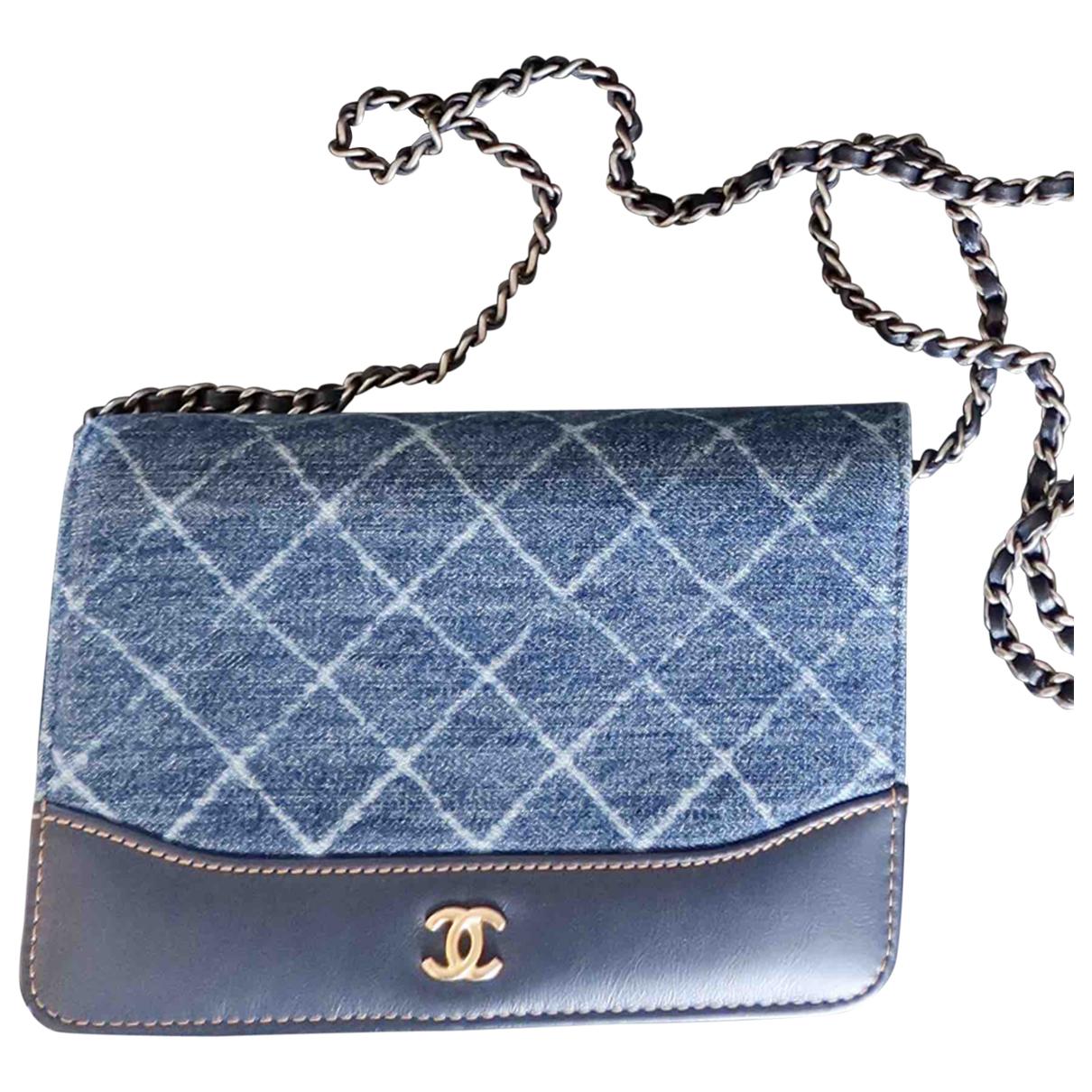 Chanel - Sac a main Wallet on Chain pour femme en denim - bleu