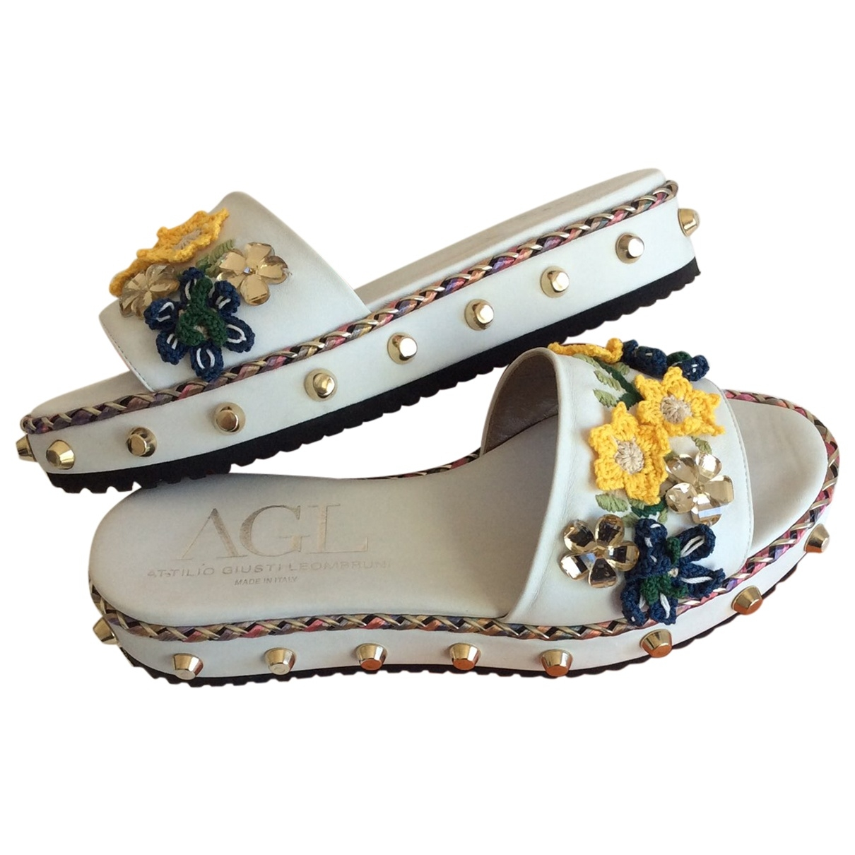 Agl \N White Leather Sandals for Women 38 EU