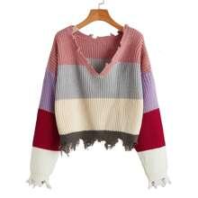 Pullover mit sehr tief angesetzter Schulterpartie, Farbblock und ausgefranstem Saum